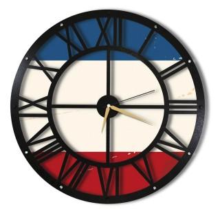 Horloge murale en métal Wall Tricolore - Diam. 50 cm - Noir