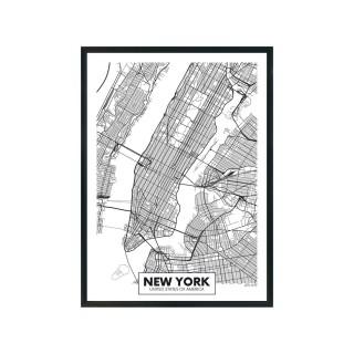 Tableau carte ville City Map - L. 33 x H. 43 cm - New-york