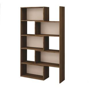 Bibliothèque extensible moderne Deco - L. 71/138 x H. 181 cm - Marron noix