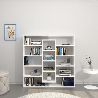 Bibliothèque design Dalia - L. 130 x H. 130 cm - Blanc