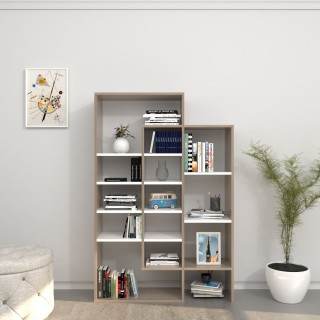 Bibliothèque design Atena - L. 93 x H. 140 cm - Marron cordoba