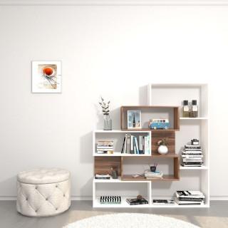 Bibliothèque design Era - L. 140 x H. 150 cm - Blanc et marron