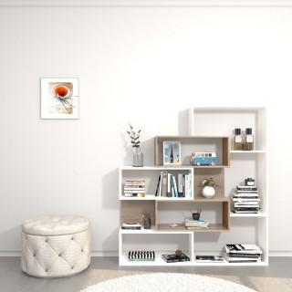 Bibliothèque design Era - L. 140 x H. 150 cm - Blanc et marron somona