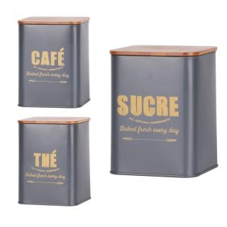 Set boîte de conservation Bakery - Café, thé et sucre - Gris