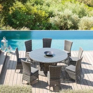 Table de jardin résine tressée Mooréa - 8 Personnes - Gris terre d'ombre