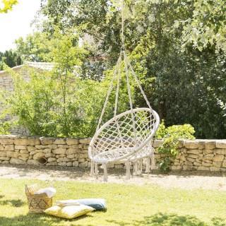 Fauteuil de jardin suspendu Plumaya - Macramé - Blanc