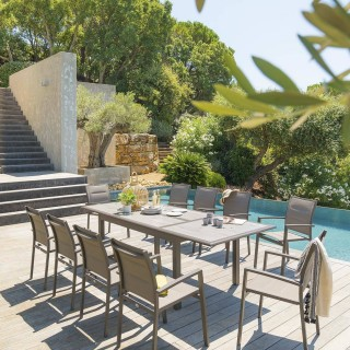 Table de jardin extensible Azua - Céramique - 10 Personnes - Marron tonka