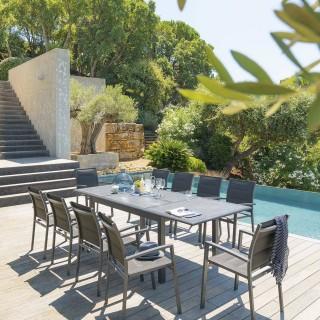 Table de jardin extensible Azua - Céramique - 10 Personnes - Gris graphite
