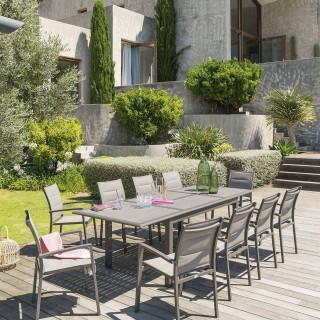 Table de jardin extensible Azua - 10 Personnes - Marron expresso