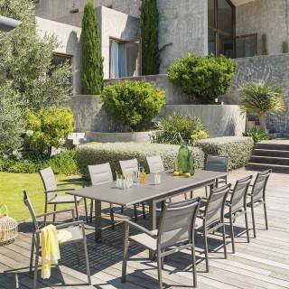 Table de jardin extensible Azua - Aluminium - 10 Personnes - Marron tonka