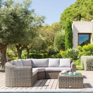 Salon de jardin en résine tressée Mooréa - 5 Places  - Marron naturel