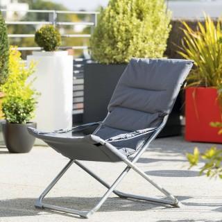 Fauteuil relax de jardin pliable Milos - 3 Positions - Gris ardoise