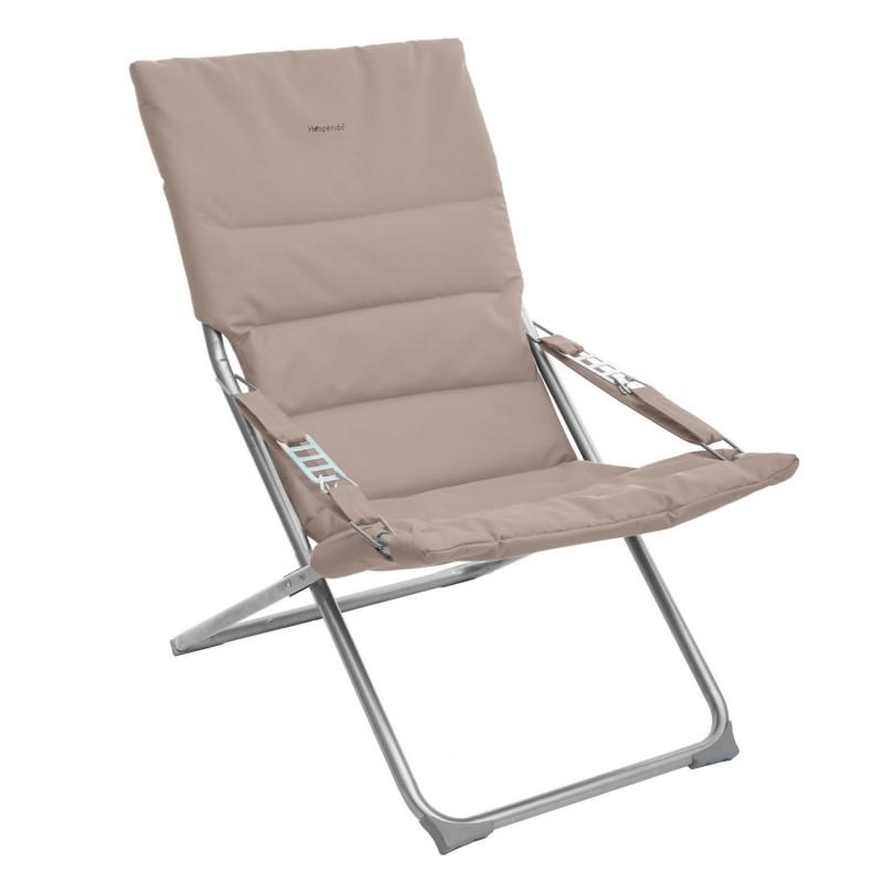 Fauteuil relax de jardin pliable Milos - 3 Positions - Taupe - DecoAndGo