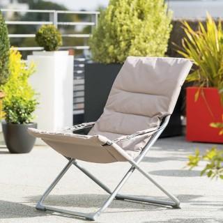 Fauteuil relax de jardin pliable Milos - 3 Positions - Taupe