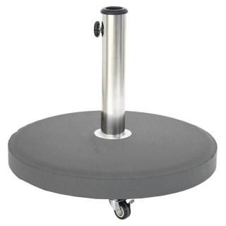 Pied de parasol rond à roulettes - Béton - 25 Kg - Gris