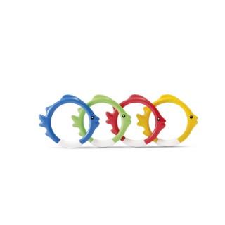 4 Anneaux lestés pour piscines - Multicolore