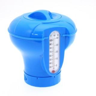Diffuseur flottant de chlore avec thermomètre - Bleu