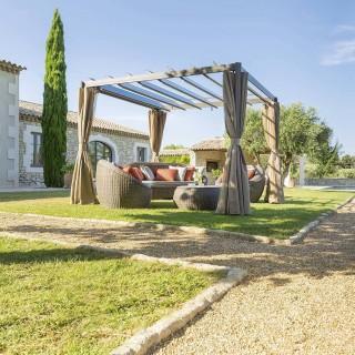 Tonnelle de jardin Flamenco - L. 3 x l. 3 m - Marron