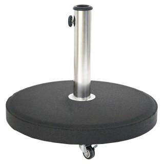 Pied de parasol rond à roulettes - Béton - 25 Kg - Noir