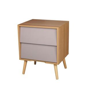 Table de chevet en bois vintage Leo - L. 48 x H. 60 cm - Gris