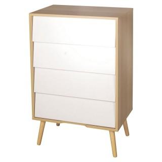 Commode en bois vintage Leo - L. 60 x H. 92 cm - Blanc