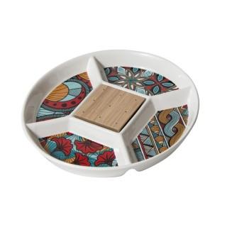 Assiette apéritif compartimentée Wax - Diam. 23 cm - Blanc