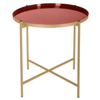 Table à café en métal Kylian - Diam. 48 cm - Marron terracotta