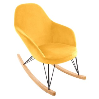 Rocking chair en velours Ewan - Jaune moutarde