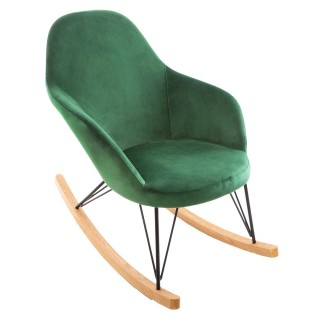 Rocking chair en velours Ewan - Vert