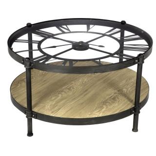 Table basse avec horloge Chrono - Diam. 89 x H. 49 cm - Noir
