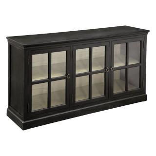 Buffet vitré contemporain Beau manoir - L. 165 x H. 85 cm - Noir