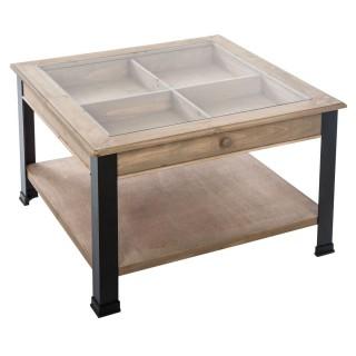 Table basse industrielle Bhanu - L. 71 x H. 46 cm - Noir