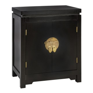 Table de chevet exotique Baoji - L. 45 x H. 54 cm - Noir