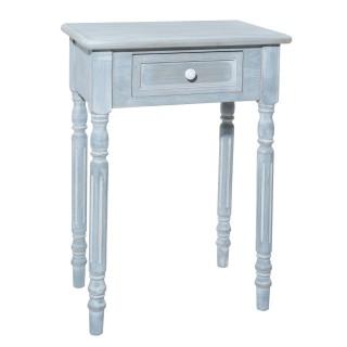 Table de chevet en bois Tasha - L. 47 x H. 65 cm - Gris blanchi