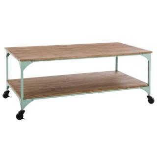 Table basse industrielle Bohemian Dream - L. 110 x H. 45 cm - Vert