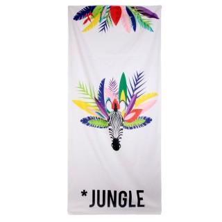 Serviette de plage jungle Exotique - L. 70 x l. 150 cm - Blanc