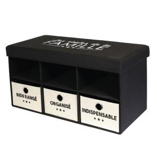 Banc d'entrée pliable rangements Famille - L. 76 x H. 39 cm - Noir