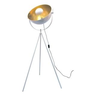 Lampadaire trépied en métal Cinéma - H. 145 cm - Blanc et or