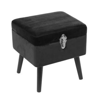 Tabouret coffre en velours Elia - L. 40 x H. 40 cm - Noir