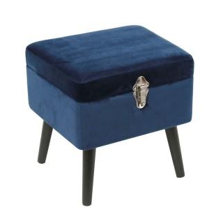 Tabouret coffre en velours Elia - L. 40 x H. 40 cm - Bleu