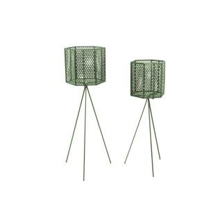 2 Cache-pots sur pieds en métal Mesh - Vert
