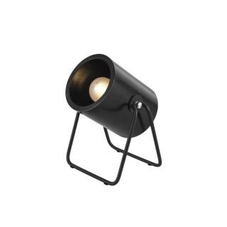 Lampe en bois et métal ronde Hefty - H. 17 cm - Noir