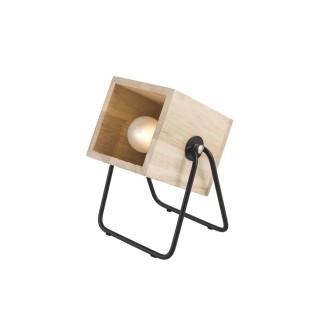 Lampe en bois et métal carrée Hefty - H. 17 cm - Marron