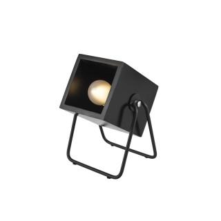 Lampe en bois et métal carrée Hefty - H. 17 cm - Noir