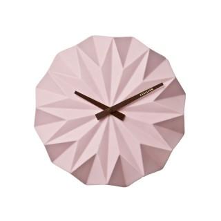 Horloge murale scandinave Origami - Diam. 27 cm - Rose