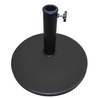 Pied de parasol rond en ciment - 25 kg - Noir