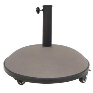 Pied de parasol en ciment avec roue - 25 kg - Taupe