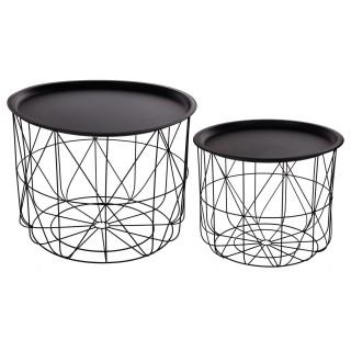 2 Tables gigognes filaires Mood - Diam. 43/53 cm - Noir