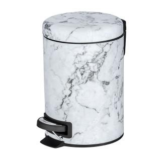Poubelle à pédale effet marbre Onyx - 3 L - Blanc