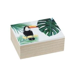 Boîte de rangement tropicale Tucan - L. 20 x H. 8 cm - Vert